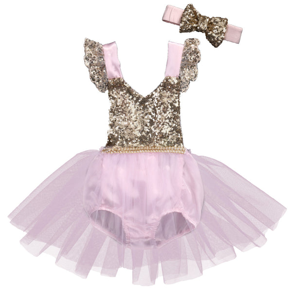 Natalia Light Pink and Gold Sequin Baby Romper with Tulle Skirt + Headband