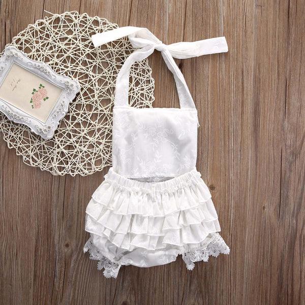 Kayleigh White Lace Ruffle Baby Romper - Angora Boutique - 3