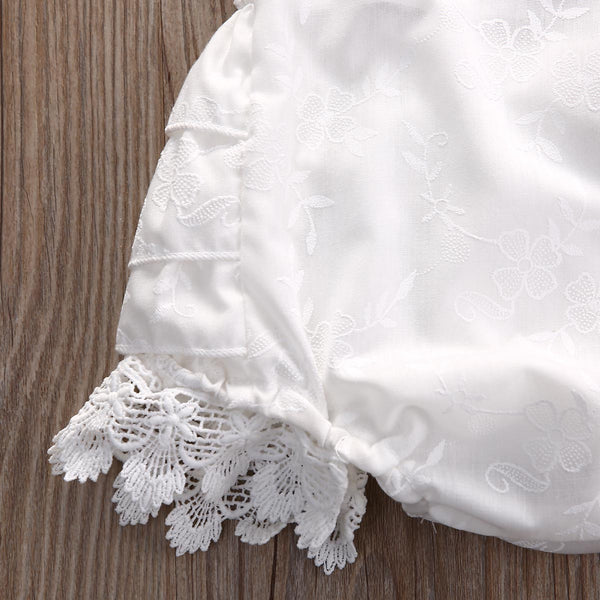Kayleigh White Lace Ruffle Baby Romper - Angora Boutique - 4