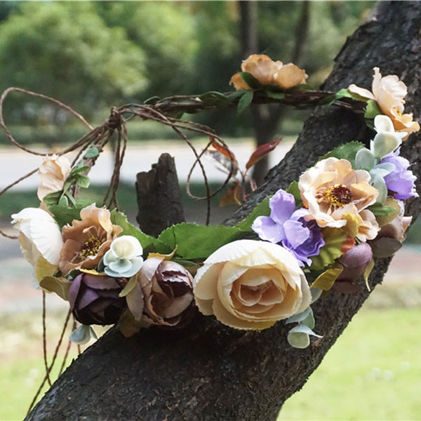 Shades of Fall Days - Whimsy Flower Crown - Angora Boutique - 1