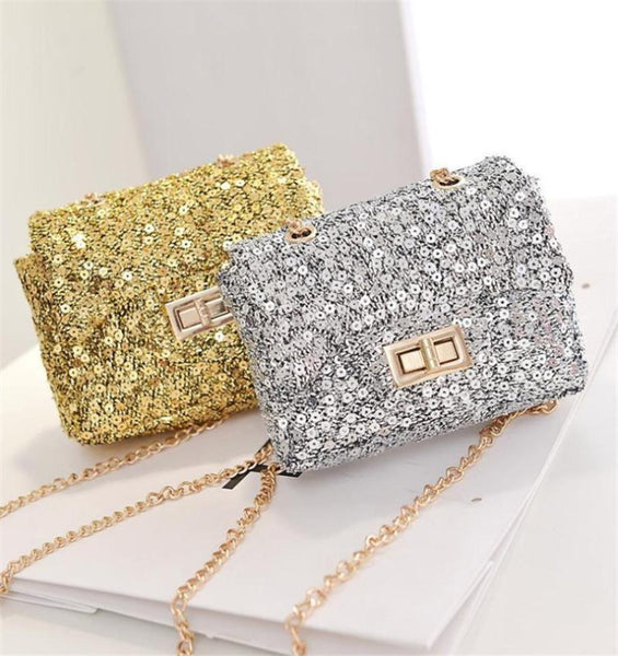 City Glam Sequin Glitz Mini Girls Bag - Gold, Silver, Black, Pink - Angora Boutique - 2