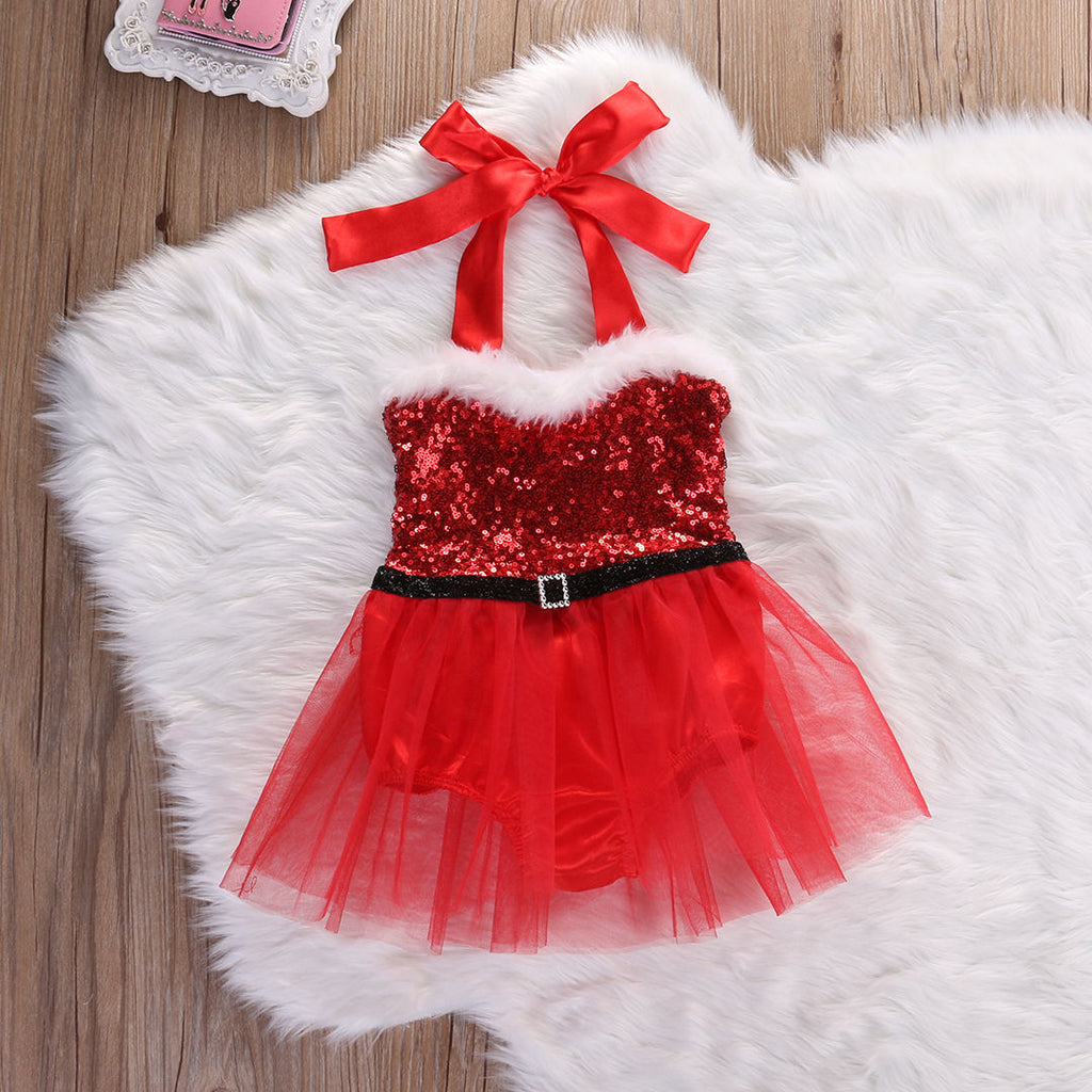 Santa Baby Sequin Christmas Romper with Tulle Skirt - Red