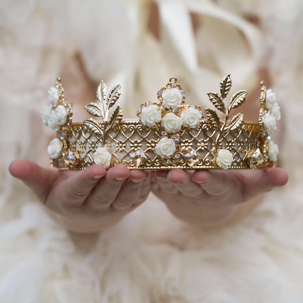 Gold & Cream Dream Rose Royal Crown Tiara - Angora Boutique - 1