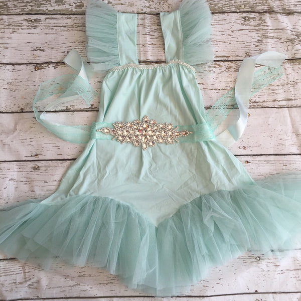 "The ""Karen"" Rhinestone Sash Tutu Glam Dress in Mint Green - Angora Boutique - 2"