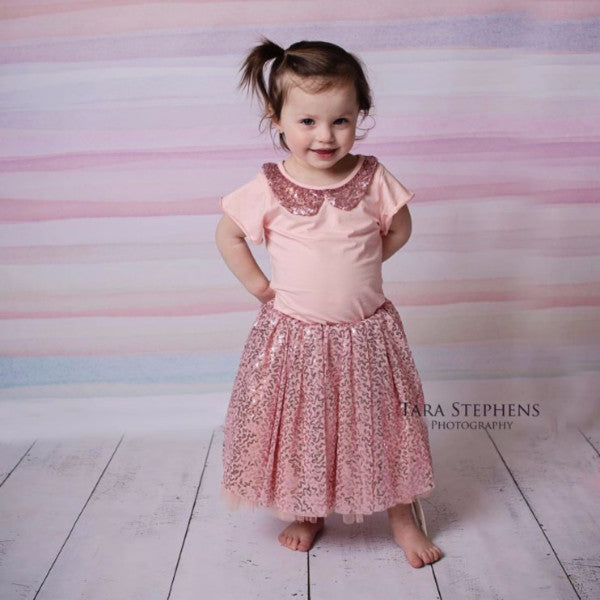"The ""Ana"" Girls Pink Sequin Shirt + Skirt Set - Angora Boutique - 1"