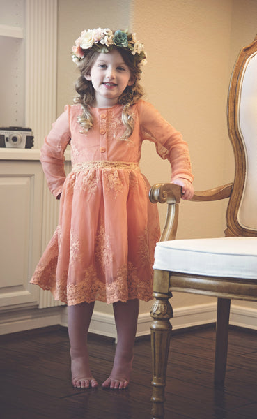 "Vintage Glam - The ""Avery"" Girls Peach Lace Dress - Angora Boutique - 4"