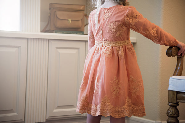 "Vintage Glam - The ""Avery"" Girls Peach Lace Dress - Angora Boutique - 3"