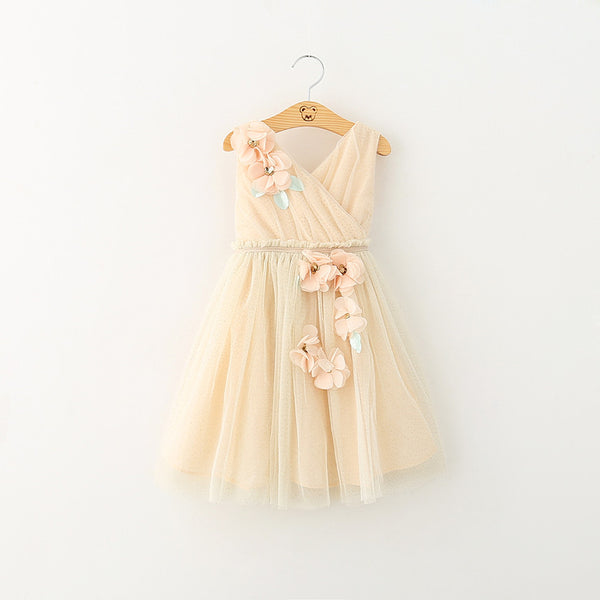"The ""Heather"" Mint + Beige Flower Embellished Girls Dress - Angora Boutique - 1"
