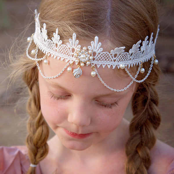 Boho Lace Pearl Headdress - Angora Boutique - 1