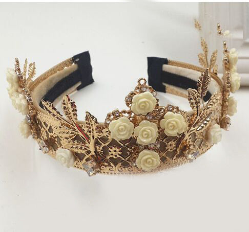 Gold & Cream Dream Rose Royal Crown Tiara - Angora Boutique - 2