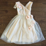 "The ""Heather"" Mint + Beige Flower Embellished Girls Dress - Angora Boutique - 3"