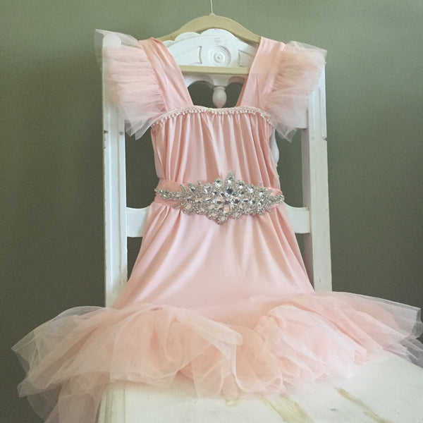 "The ""Karen"" Rhinestone Sash Tutu Glam Dress in Pink - Angora Boutique - 1"