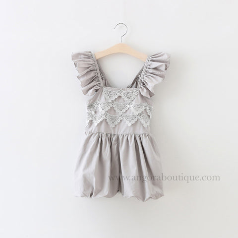 "The ""Elsie"" Gray Lace Romper - Angora Boutique - 1"