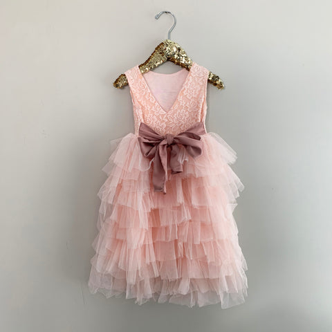 "The ""Emma"" Peachy Pink Comfy Lace Girls Dress"