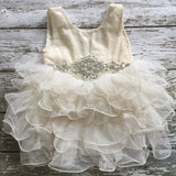 "Vintage Glam - The ""Peyton"" Ivory Sequin Flower Girl Party Dress - Angora Boutique - 4"