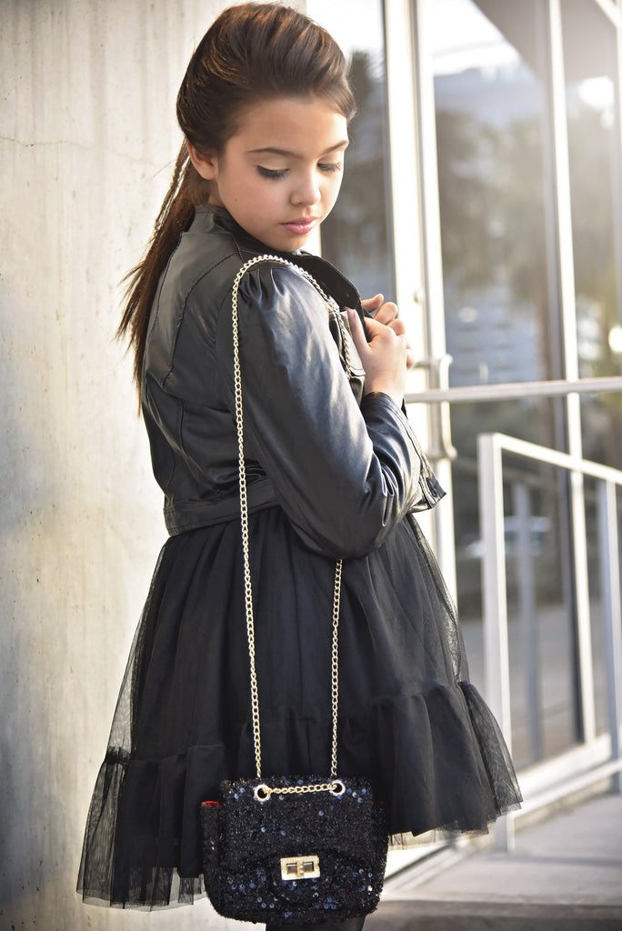 "City Glam ""Gianna"" Princess Faux Black Leather Jacket - Angora Boutique - 2"