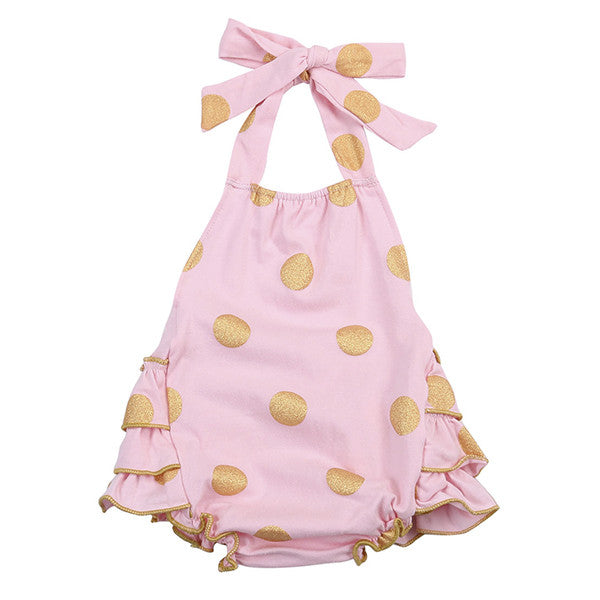 Pink and Gold Glitter Polka Dot Baby Romper - Angora Boutique