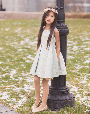 "The ""Harper"" Pretty Blue Jacquard Princess Dress"