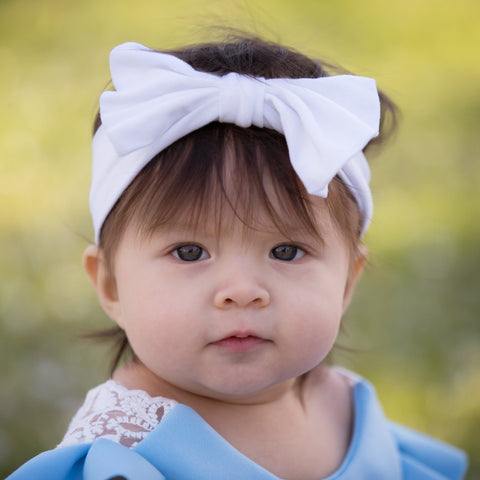 Big Bow Cotton White Baby Headband
