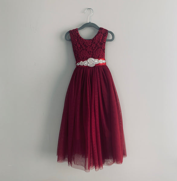 "The ""Ruby"" Burgundy Girls Long Length Red Lace Dress"