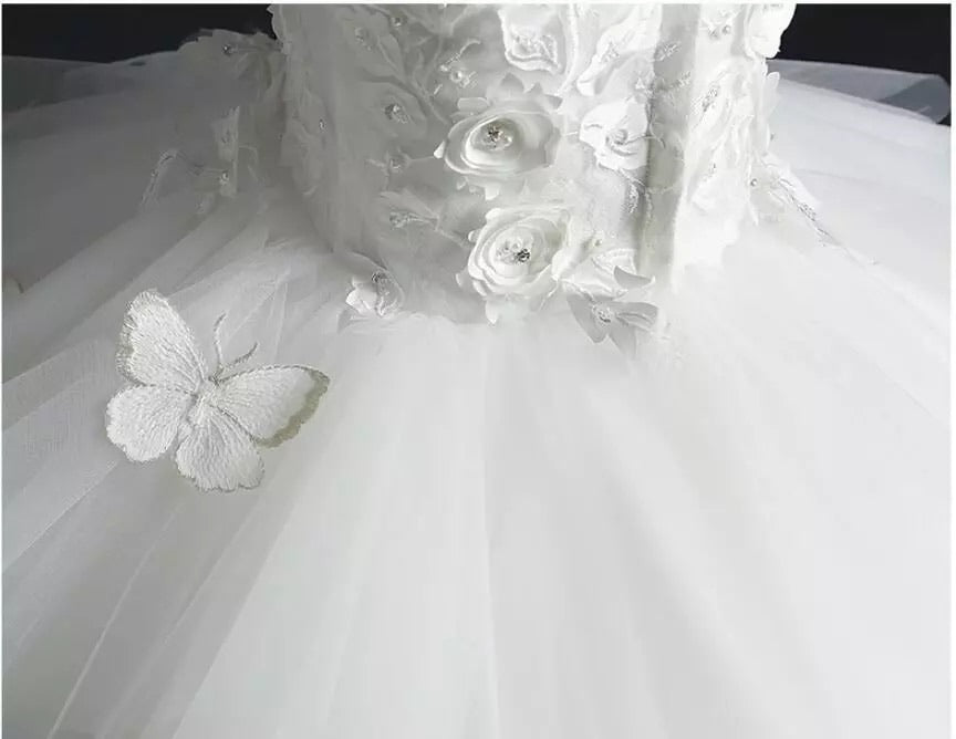 "The ""Anjae"" Girls White Butterfly Tutu Dress with Detachable Train"