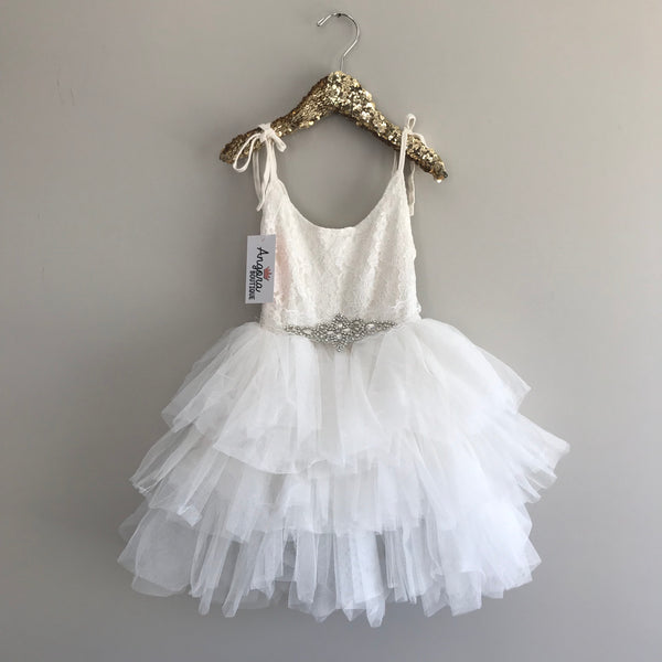 "The ""Jessica"" Rhinestone Sash Lace Layered Dress in Off-white"