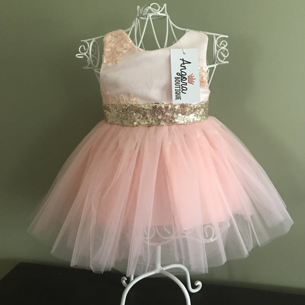 "The ""Lani"" Gold Sequin Peach Lace Bow Girls Dress"
