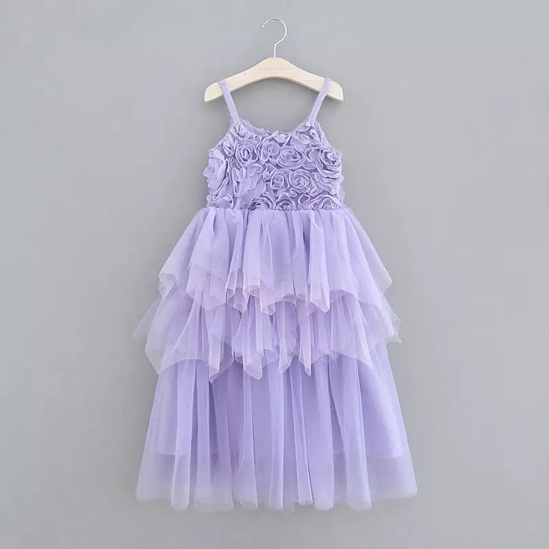 "The ""Antonia"" Rosette Dress - Lavender"