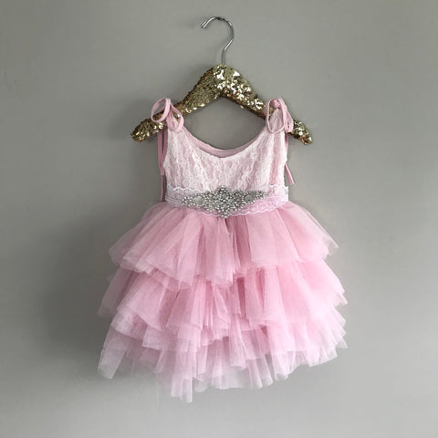 "The ""Jessica"" Rhinestone Sash Lace Layered Dress in Pink"