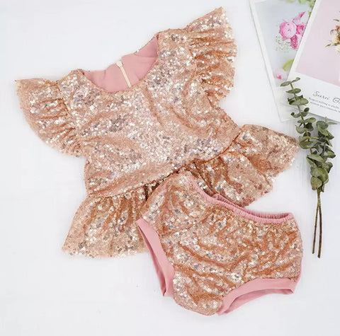 Rose Gold Sequin Glam Set - Angora Boutique