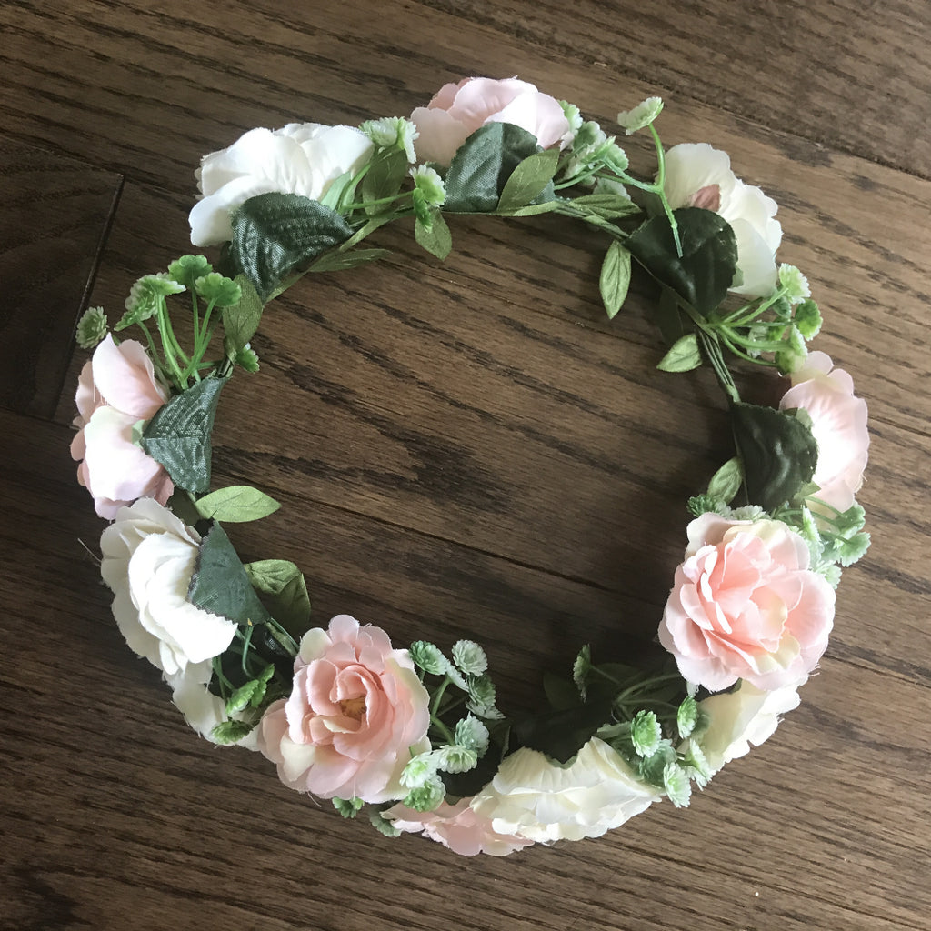 Mossy Mint and Peach Flower Crown