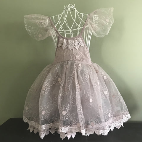 "The ""Mackenzie"" Dusty Purple Lace Girls Dress"