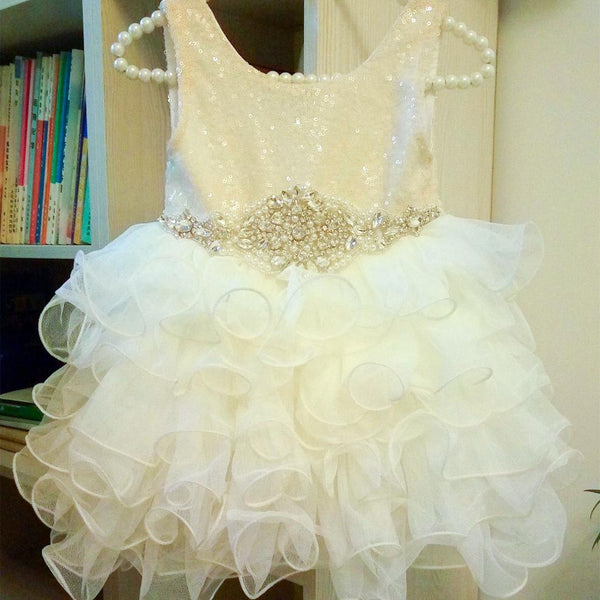 "Vintage Glam - The ""Peyton"" Ivory Sequin Flower Girl Party Dress"