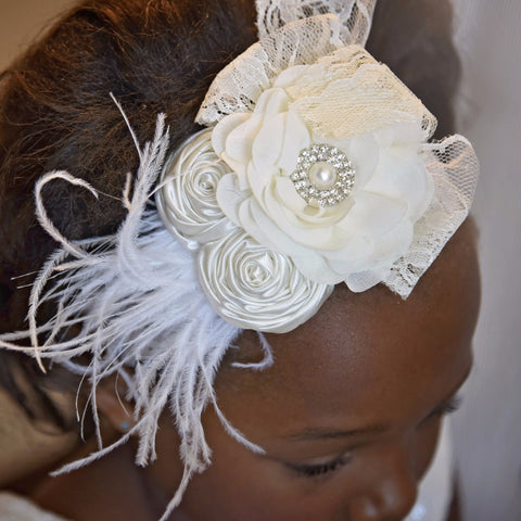 Vintage Headpiece Ivory Lace Feather Photography - Angora Boutique - 1