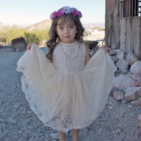 The Kate Lace Antique Ivory or White Tulle Vintage Flower Girl Lace Dress - Angora Boutique - 1