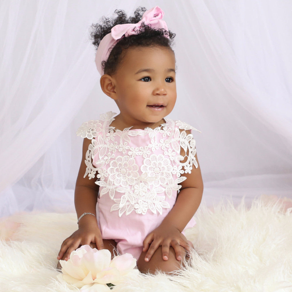 Maribel Pink Lace Baby Romper + Headband