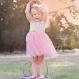 "The ""Lexi"" Infant + Toddler + Girls Pink and Gold Sequin Tutu Dress - Angora Boutique - 2"