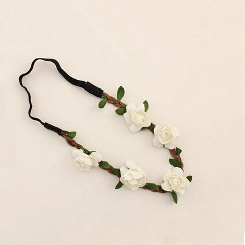Baby Boho White Flower + Leaf Headband
