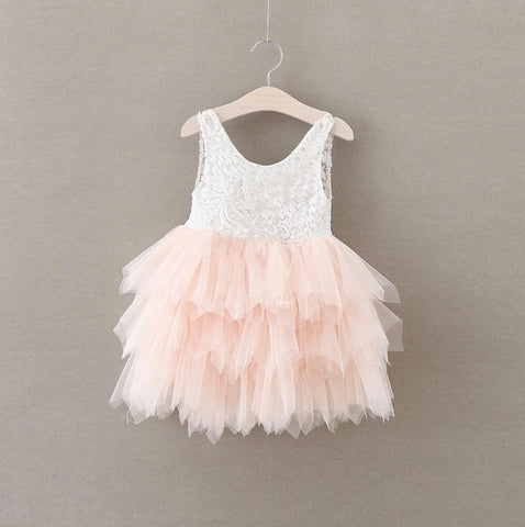 "The ""Stella Mae"" White Lace Pink Tulle Layered Dress"