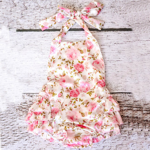 Satin Vintage Inspired Floral Print Ruffle Infant Romper - Angora Boutique - 1
