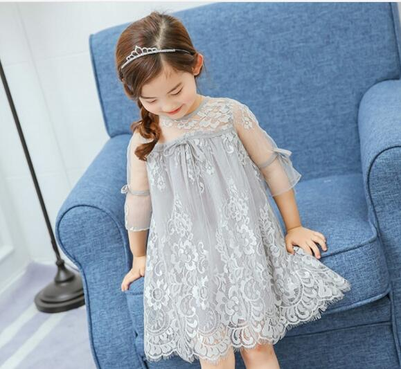 "The ""Abbygail"" Gray Lace Girls Dress"