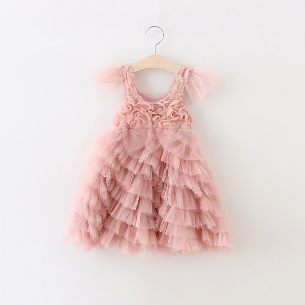"The ""Valentina"" Rosette Dusty Pink Long Length Dress - Angora Boutique - 5"