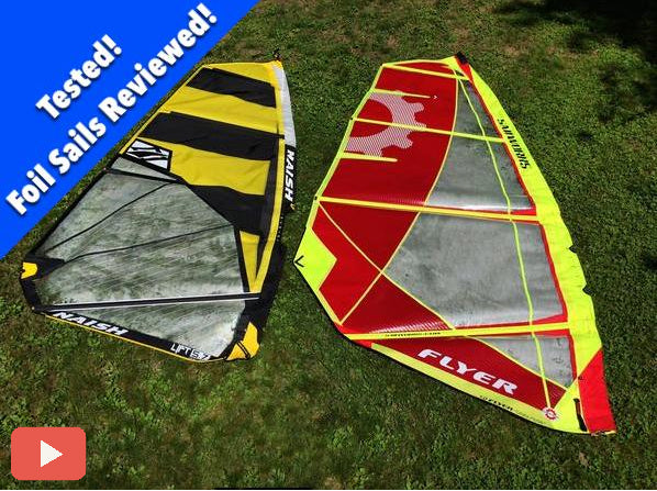 Foil Specific Windsurfing Sail Test:  Sailworks Flyer and Naish Lift (video)