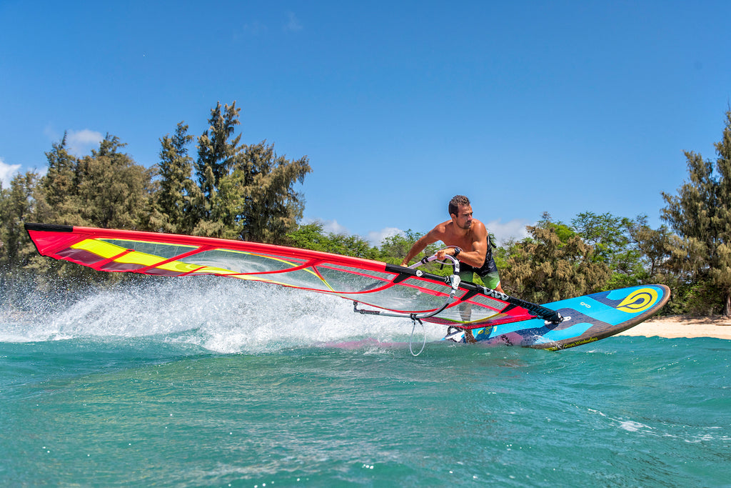 Jibing the 2020 Goya Bolt Windsurf Board