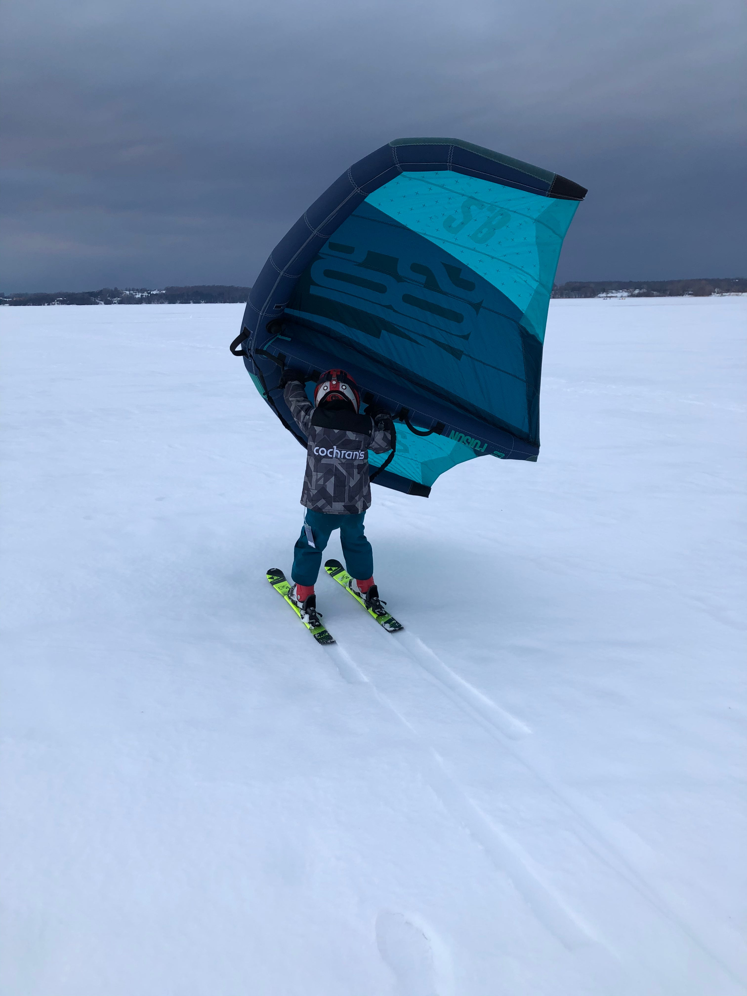Kids Wing Skiing Action