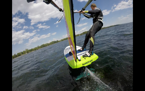 Cruising Stance with the Sailworks Flyer Foil Windsurf Sail