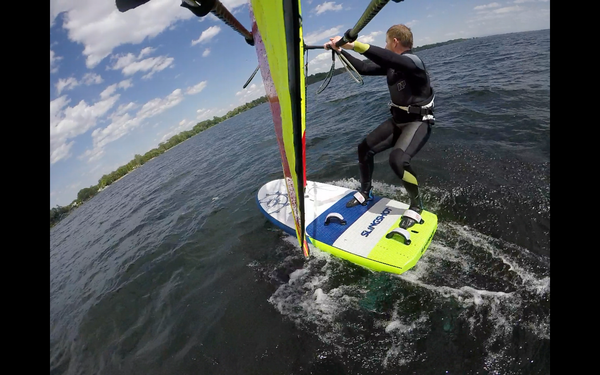 Pumping the Sailworks Flyer Windsurf Foil Sail