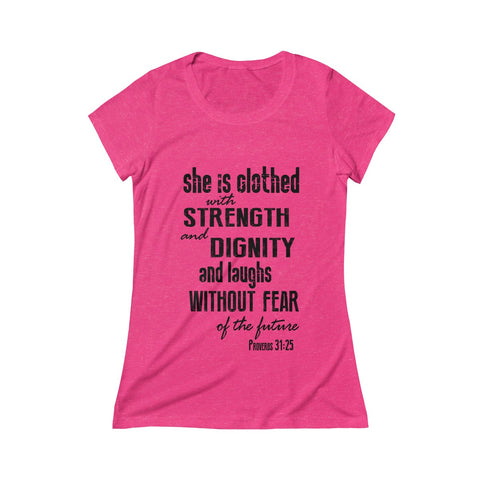 Be Strong & Courageous Joshua 1:9 Christian Womens Scoop Tee