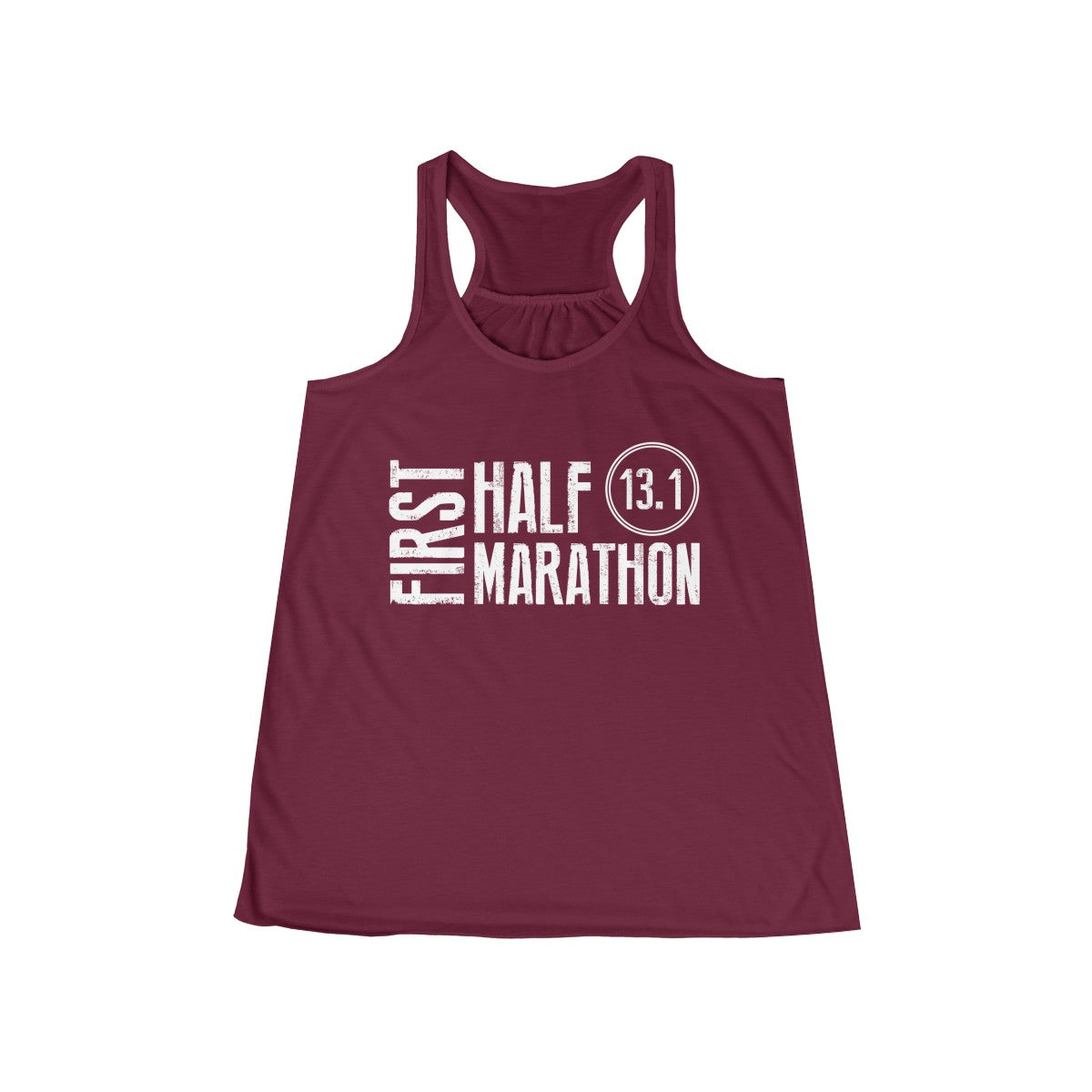 First Half Marathon 13.1 Workout Flowy Racerback Tank