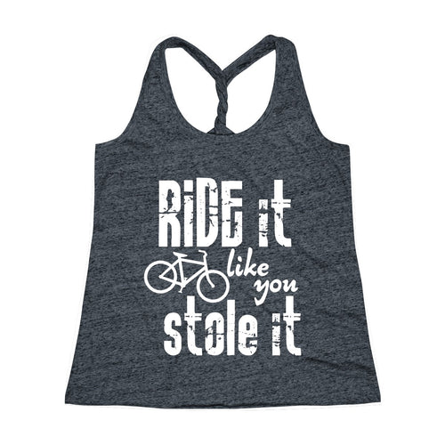 Ride It Like You Stole It Workout Twist Back Tank Top